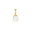 White South Sea Pearl Set of Stud Earrings, Pendant and Ring in 14K Yellow Gold and 0.2ct Diamonds
