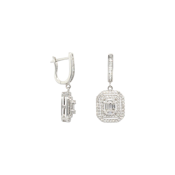 Jazz Diamond Dangling Earrings in 14K White Gold
