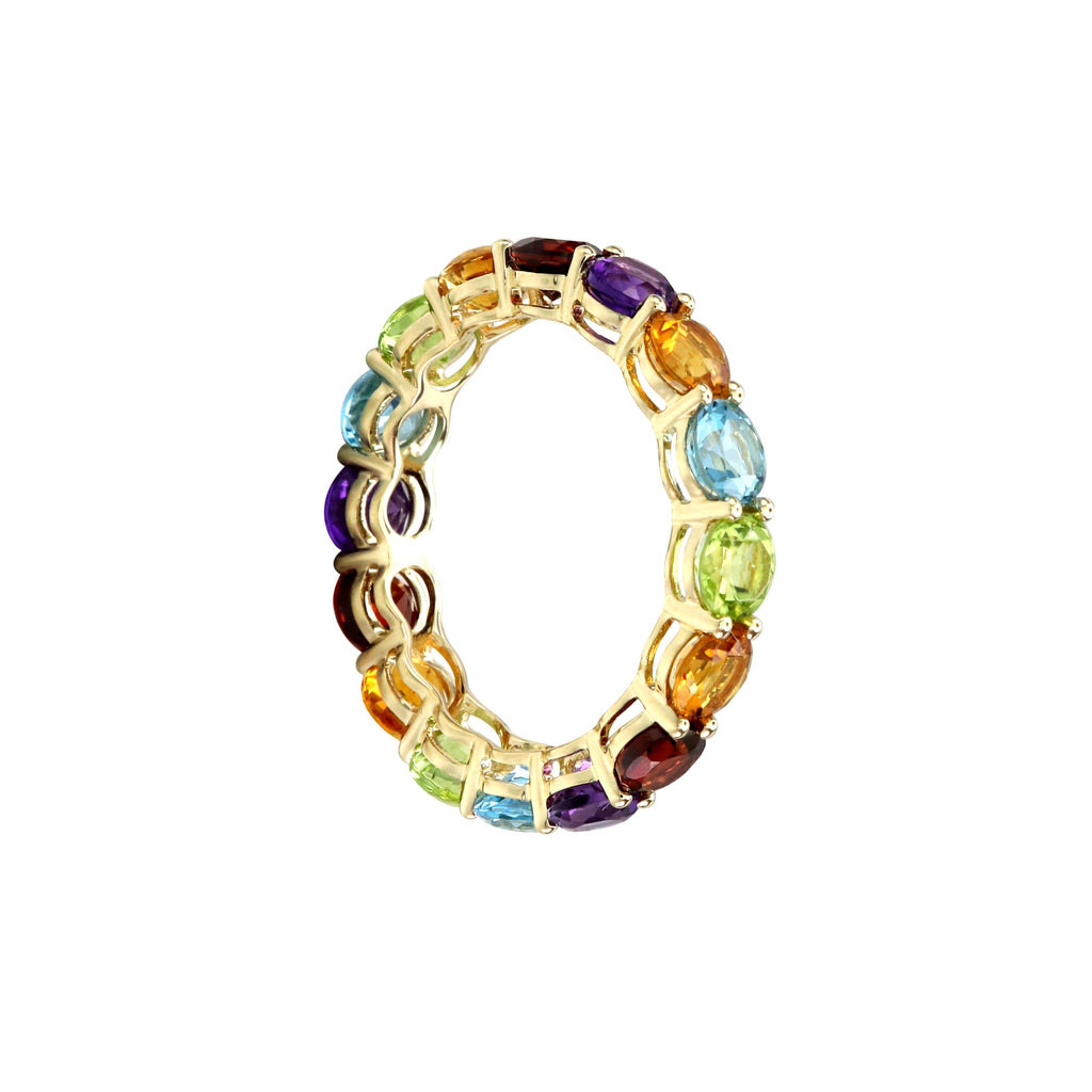 Round Rainbow Gemstones Full Eternity Ring in 14K Yellow Gold