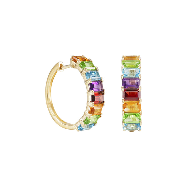 Emerald-Cut Rainbow Gemstones Half Eternity Hoop Earrings in 14K Yellow Gold