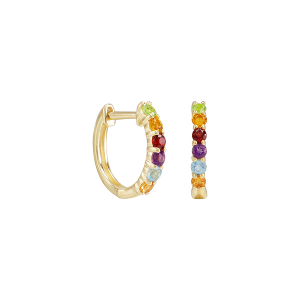 Round Rainbow Gemstones Half Eternity Hoop Earrings in 14K Yellow Gold