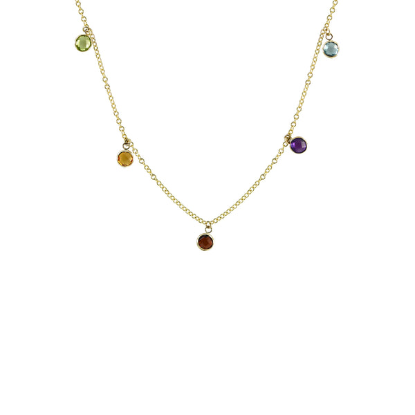 Rainbow Charm Necklace in 14K Yellow Gold
