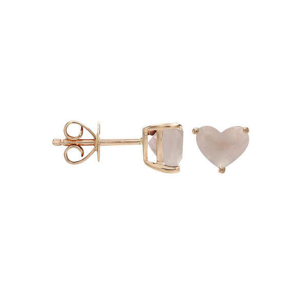 Heart Rose Quartz Stud Earrings in 14K Rose Gold