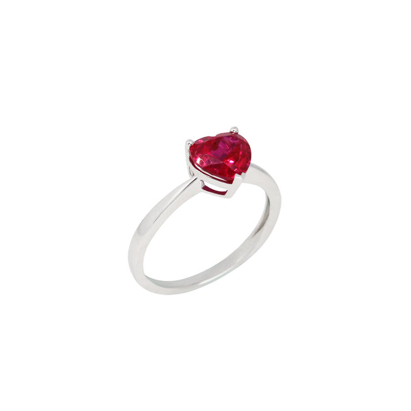 Heart Ruby Solitaire Ring in 14K White Gold