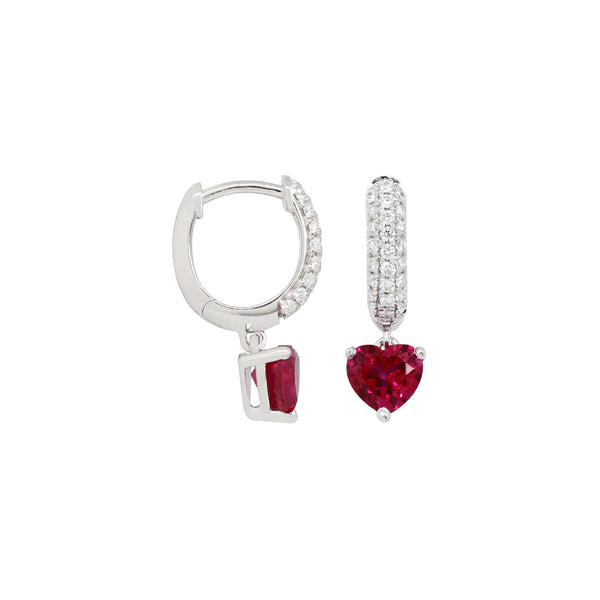 Heart Ruby Dangling Earrings in 14K White Gold