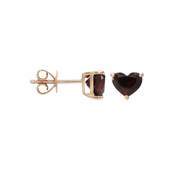 Heart Garnet Stud Earrings in 14K Rose Gold