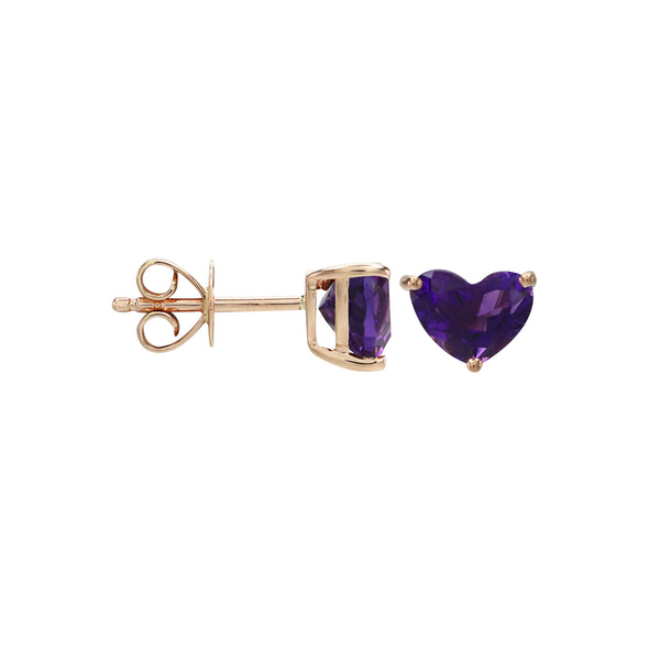 Heart Amethyst Stud Earrings in 14K Rose Gold