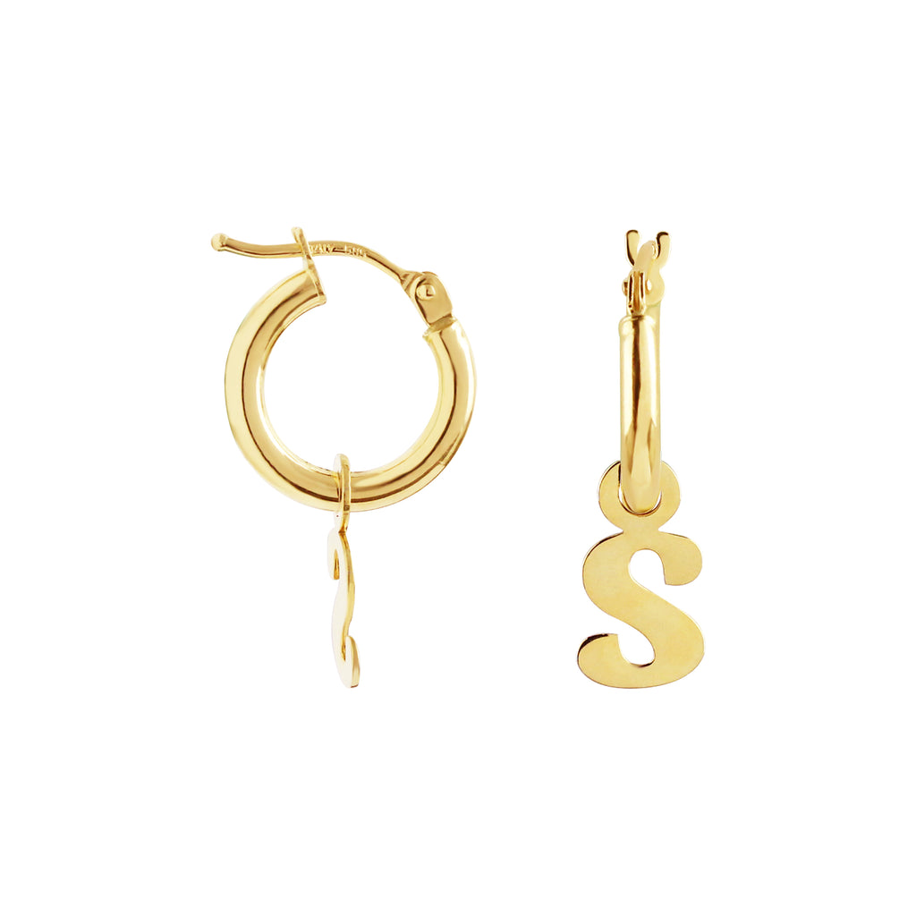 Hoop Earrings with Removable Charm Initial