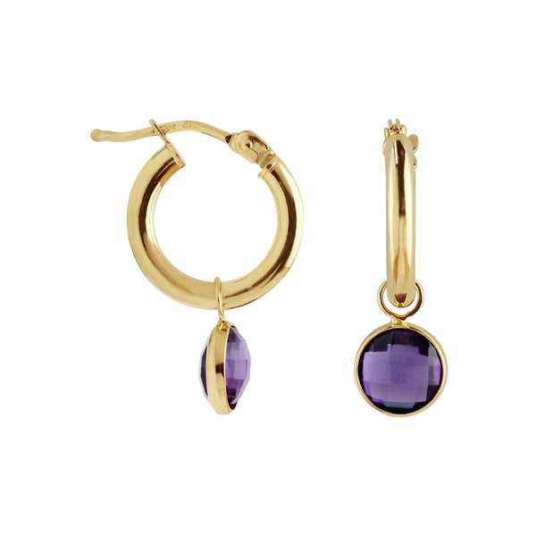 Hoop Earrings with Removable Amethyst Charm
