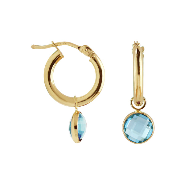 Hoop Earrings with Removable Blue Topaz Charm
