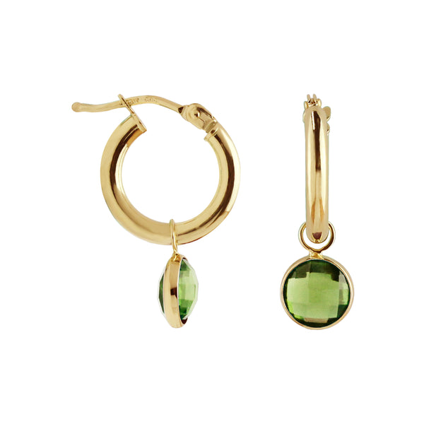 Hoop Earrings with Removable Peridot Charm