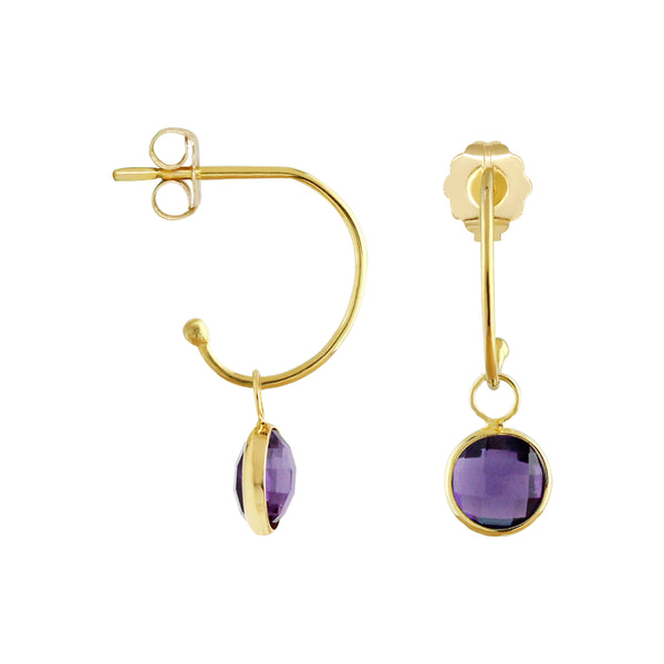 C-Hoop Earrings with Removable Amethyst Charm