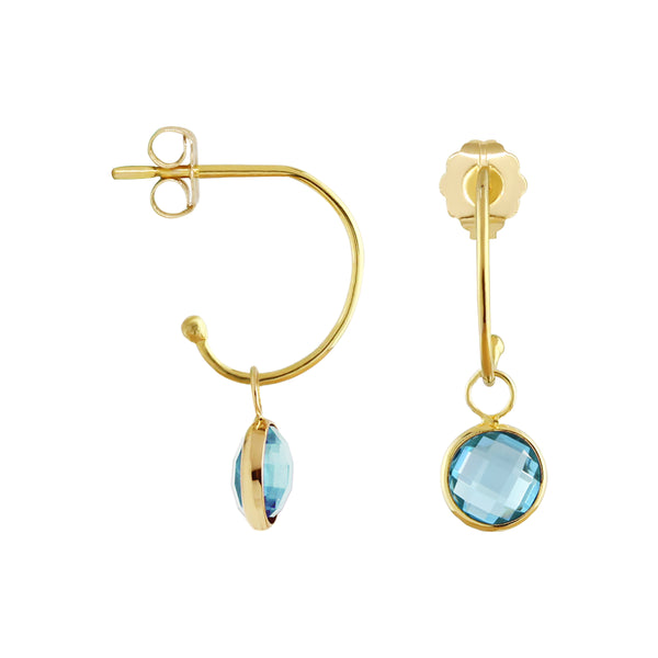C-Hoop Earrings with Removable Blue Topaz Charm