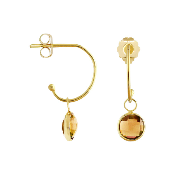 C-Hoop Earrings with Removable Citrine Charm