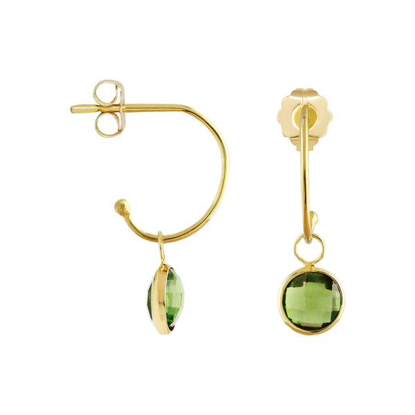 C-Hoop Earrings with Removable Peridot Charm