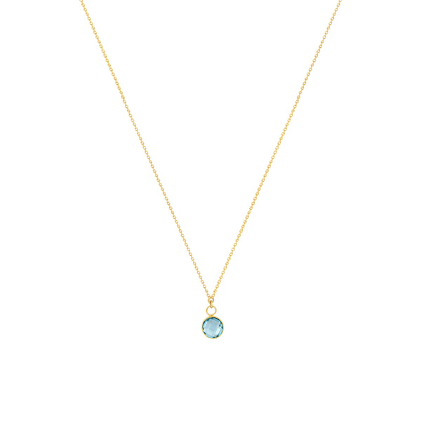 Round Checkerboard Blue Topaz Necklace in 14K Yellow Gold