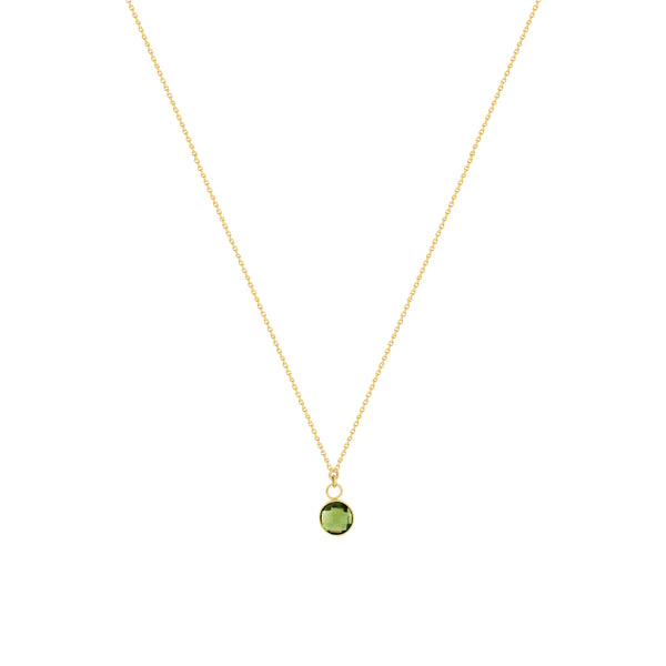 Round Checkerboard Peridot Necklace in 14K Yellow Gold