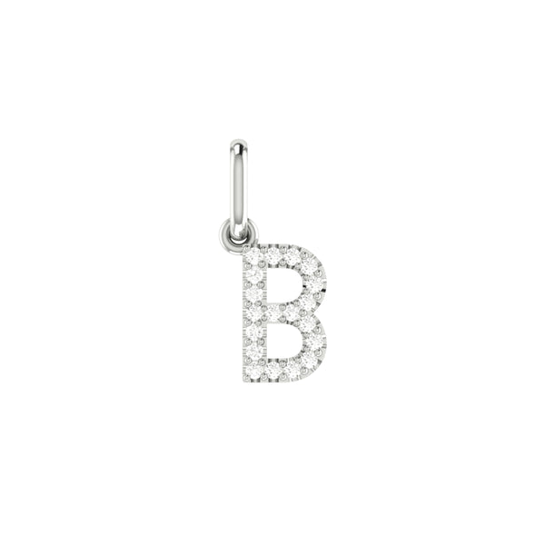 Diamond Classic Letter Pendant in 14K White Gold