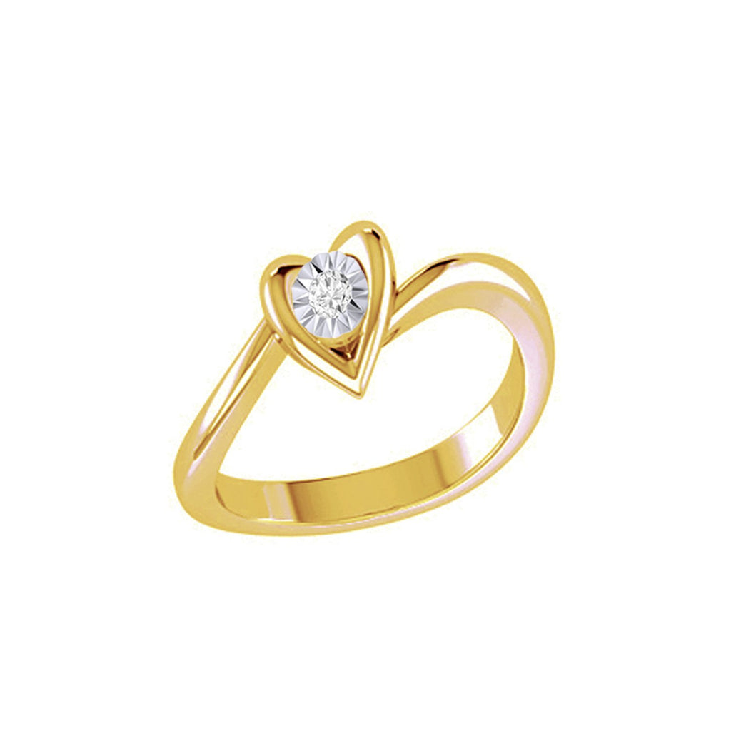 Diamond Tru Radiance Heart Engagement Ring .07Ct In 14K White Gold