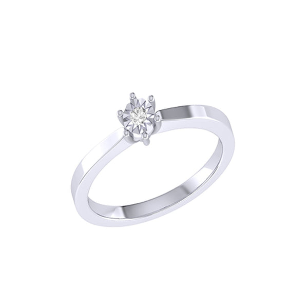 Diamond Tru Radiance Classic Engagement Ring .06Ct In 14K White Gold