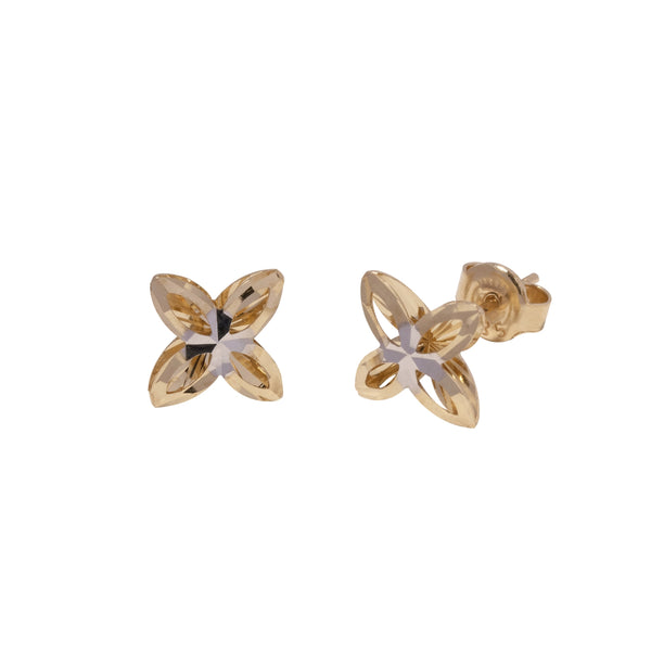 14K Italian Gold Flower Dia Cut Stud Earrings