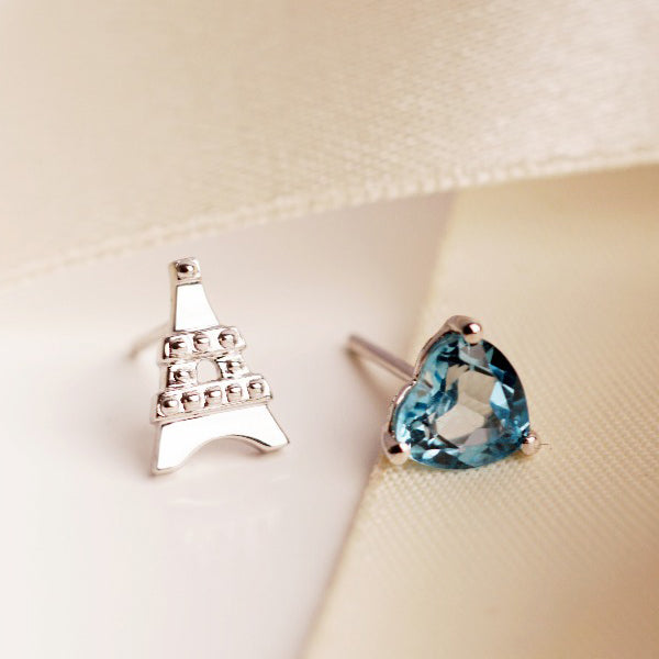 Keepsake Collection L'Eiffel Blue Topaz Mismatched Heart Earrings