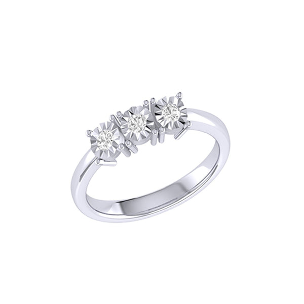 Diamond Tru Radiance Trio Ring .24Ct In 14K White Gold