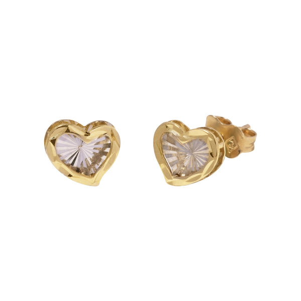 14K Italian Gold Heart Dia Cut Stud Earrings