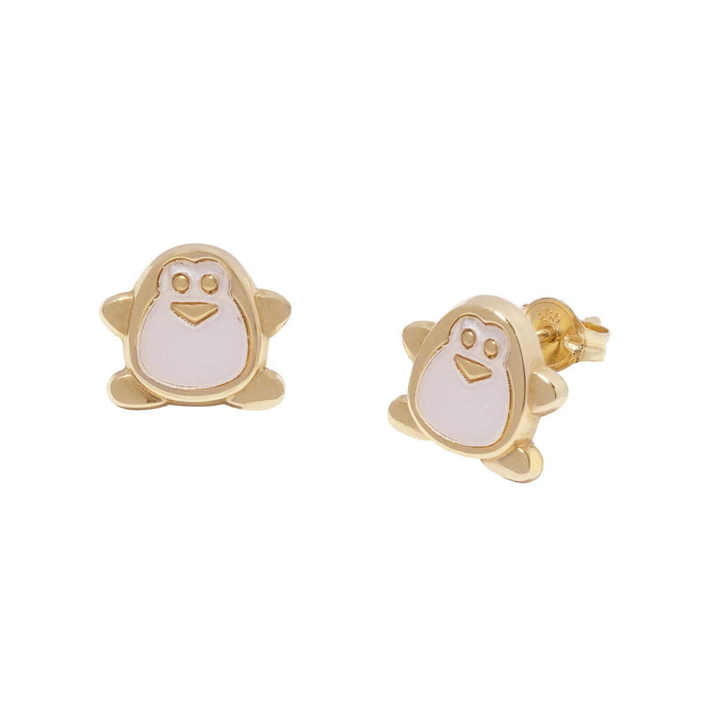 14K Italian Gold Kids Penguin w/ Mother of Pearl Stud Earrings