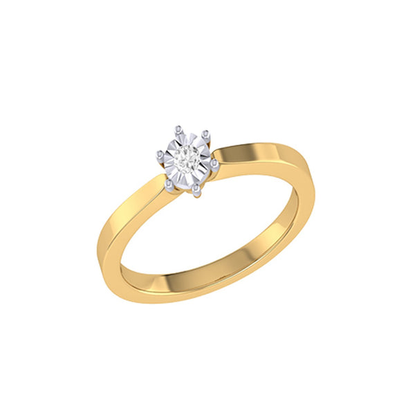 Diamond Tru Radiance Classic Engagement Ring .11Ct In 14K Yellow Gold