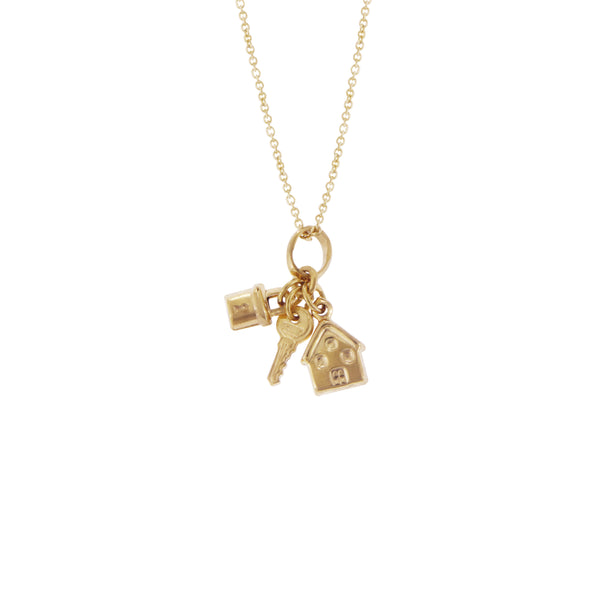 14K Italian Gold Necklace with Key, Lock & House Charms