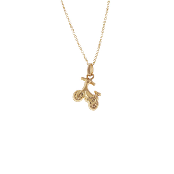 14K Italian Gold Choker Necklace with Scooter Charm