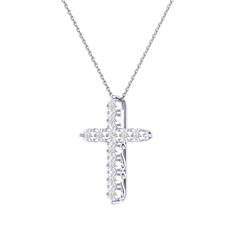 Diamond Tru Radiance  Cross Pendant .44Ct In 14K White Gold