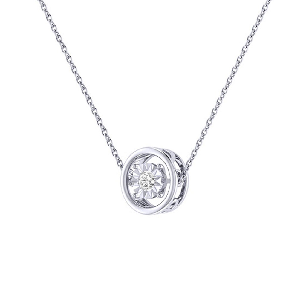 Diamond Tru Radiance  Dancing Pendant .11Ct In 14K White Gold