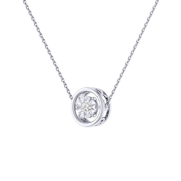 Diamond Tru Radiance  Dancing Pendant .18Ct In 14K White Gold