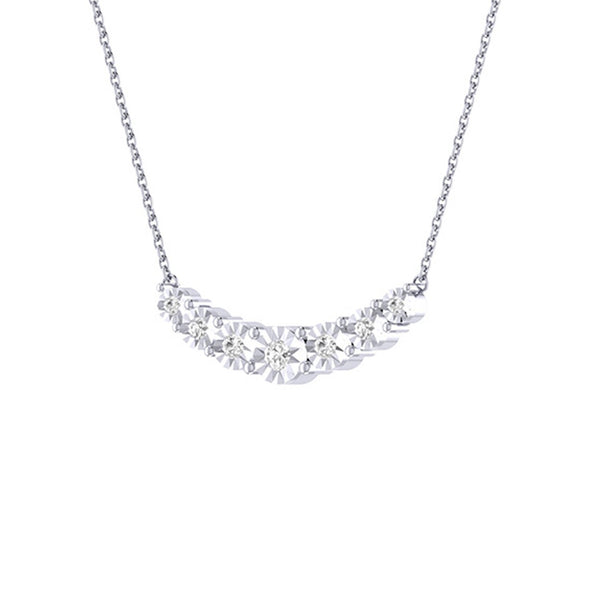 Diamond Tru Radiance  Graduated Necklace .34Ct In 14K White Gold