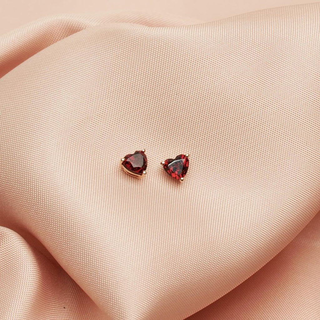 Garnet Heart Stud Earrings 2.64CT set in 14K Rose Gold