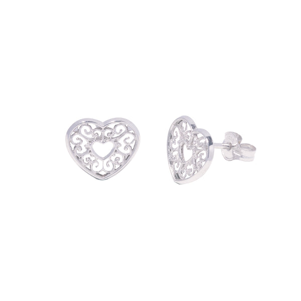14K Italian Gold Kids Heart Stud Earrings