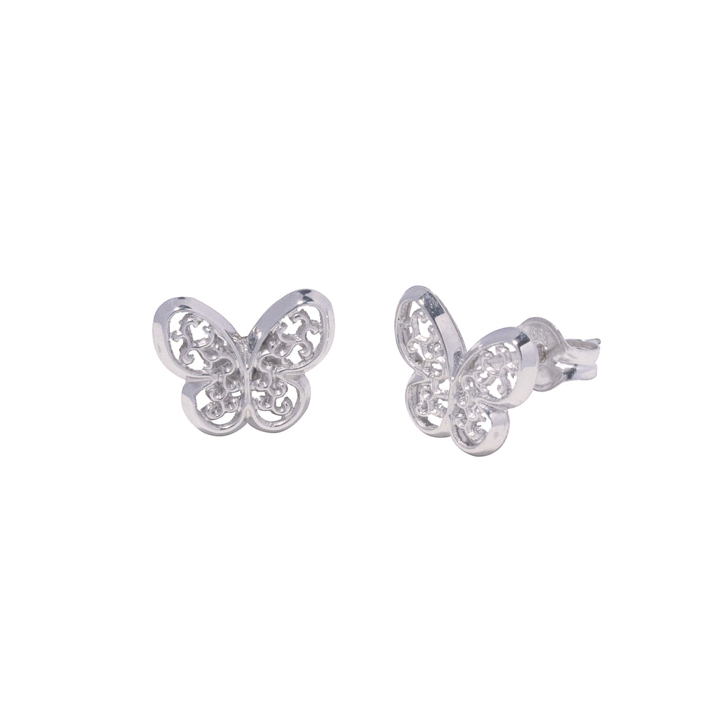 14K Italian Gold Butterfly Stud Earrings