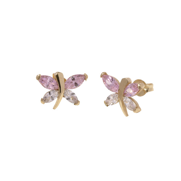 14K Italian Gold Kids Dragonfly w/ Cubic Zirconia Stud Earrings