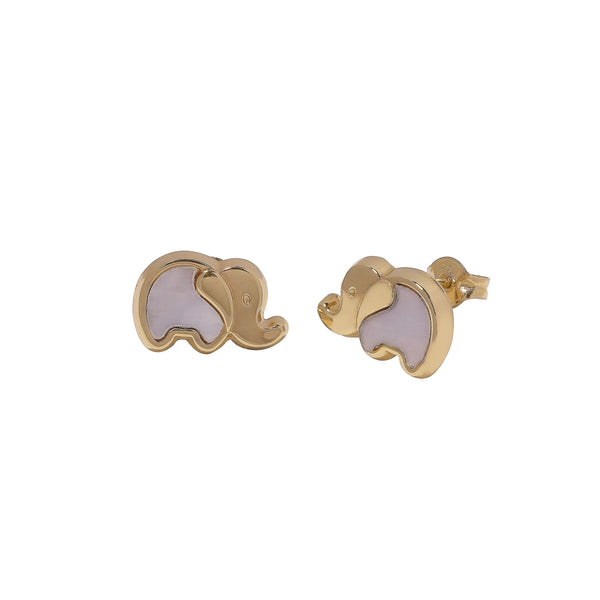 14K Italian Gold Kids Elephant w/ Mother of Pearl Stud Earrings