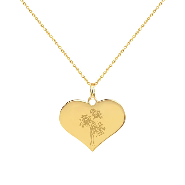 April Birth Flower in Yellow Gold Heart Necklace