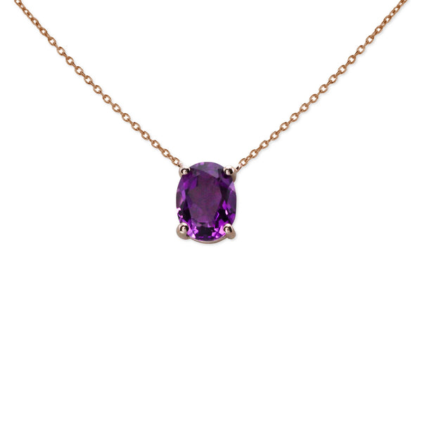 Keepsake Collection Amethyst Oval Necklace in 14K Rose Gold