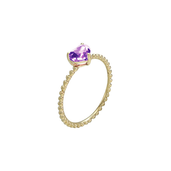 Self-Love Heart Amethyst Solitaire Beaded Ring in 14K Yellow Gold