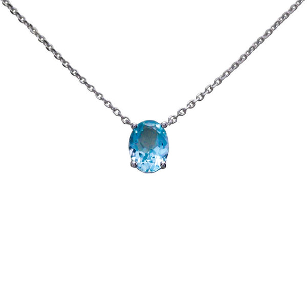 Keepsake Collection Aquamarine Oval Necklace in 14K White Gold