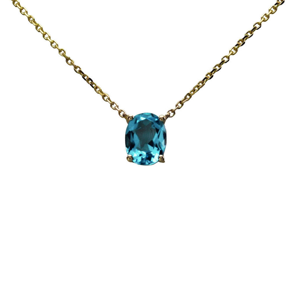 Keepsake Collection Blue Topaz Oval Necklace