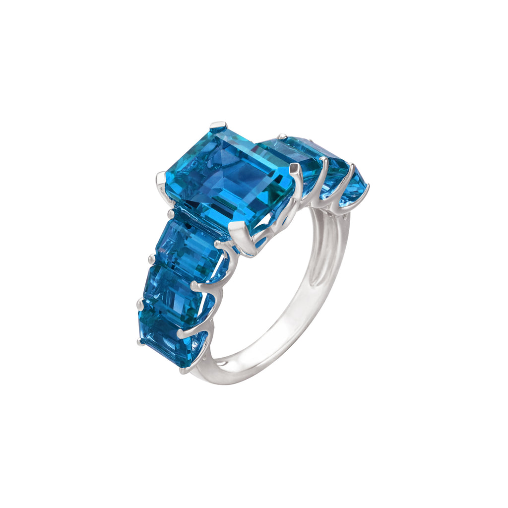 Emerald-Cut Blue Topaz Half Eternity Ring in 14K Rose Gold
