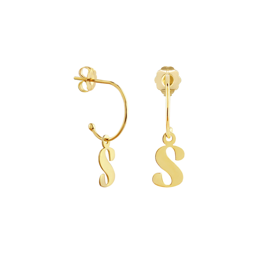 C-Hoop Earrings with Removable Charm Initial