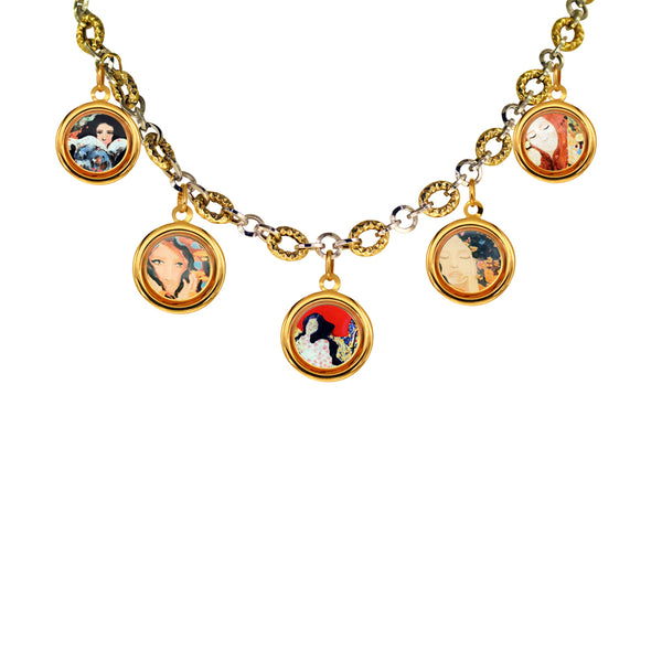 "The Modern Muse Collection ""CHIARA"" 14K Two-toned Necklace with Five 18K Charms"