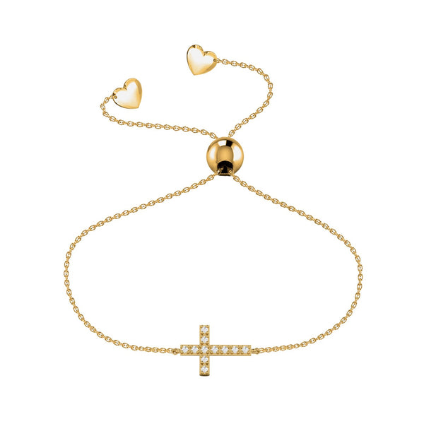Affinity Collection Diamond Cross Bracelet set in 14k Yellow Gold